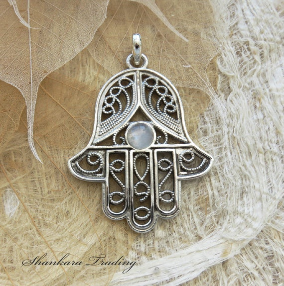 Sterling silver hamsa pendant with rainbow moonstone large sterling silver hamsa pendant with rainbow moonstone large hamsa pendant hand of fatima pendant protection necklace yoga jewellery mozeypictures Image collections