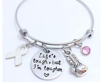 Life's Tough But I'm Tougher bracelet, Breast Cancer awareness beacelet, breast cancer Survivor Hand Stamped Breast Cancer Fighter Bracelet,