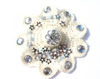 IVORY MOHAIR FLOWER BROOCH EMBROIDERED SPARKLE SEQUIN 13 CM