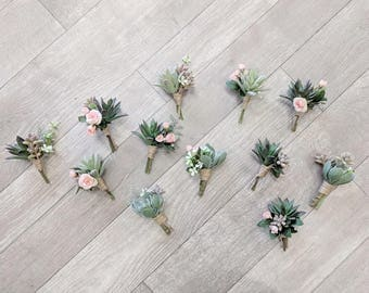 Wedding boutonniere etsy boutonniere succulent boutonniere rustic boutonniere silk flower boutonniere flower boutonniere wedding junglespirit Image collections