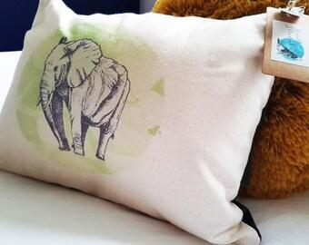 Handmade Savannah Elephant Cushion   Organic Cotton   Matte Velvet   Forest Green   Rustic   Interior