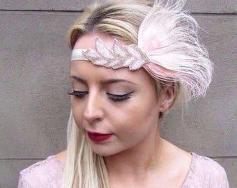 Blush Light Pink Cream Gold Feather Headpiece 1920s Headband Flapper Gatsby 4342