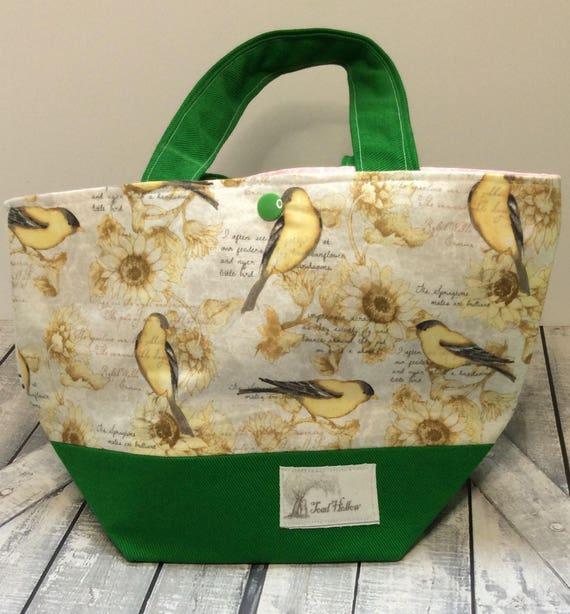 Mini Tote Bag-Goldfinch Knitting Bag,Sock Tote Bag,Goldfinch Tote Bag,Crochet Project,Knitting Project Bag,Crochet Bag,Goldfinch Mini Tote