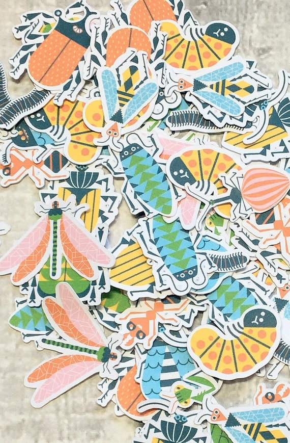 Large Confetti Colorful Bugs,Insects Paper Confetti,Insect Birthday Party,Boy Birthday Party,Party Confetti,Insect Party Decor,Bugs Birthday