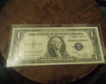 1935 D Silver Certificate Blue Seal One Dollar Bill- BF45