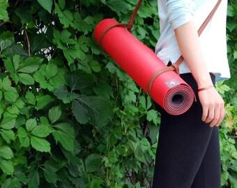 Leather Yoga Mat Strap / Yoga Mat Carrier  / Yoga Mat Sling  /  Blanket Strap