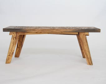 Marshmallow Box Wood Block Print Bench