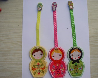 Bookmark matryoshka yellow, pink or green with polka dots Ribbon