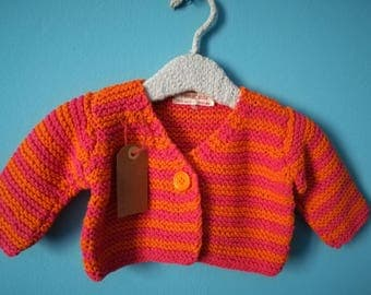 Baby jersey 3-6 months in orange and fuchsia cotton