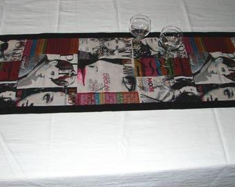 Design TABLE runner, cloth Madonna magazine cover.
