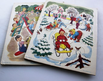 Playskool, Pair of Vintage Playskool Puzzles, Golden Press 80-12B and 80-12C, Winter and Summer Season Puzzles for Children
