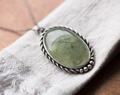 Fern Necklace. ( soft green prehnite gemstone pendant. antique sterling silver. oxidized leaf tree veins. green nature jewelry )