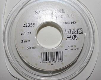 Ruban satin de luxe,double-face,blanc-cassé de 3 millimètres x 1 mètre (R 5)