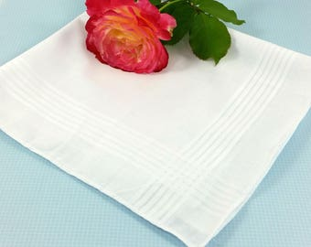 Men's Wedding/Bridal Handkerchief, Ready for your Own Words to be Embroidered, on this White Cotton Hanky.