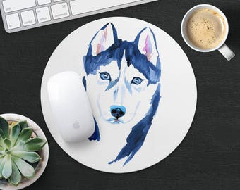 Husky Mouse Pad Dog Mouse Mat Fabric MousePad Round MouseMat Her Gift Watercolor MousePad Cute Mouse Mat Desk Office Supplies Dog Lover Gift