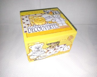 "Teeth scrappee yellow ""Teddy"" theme wooden box"