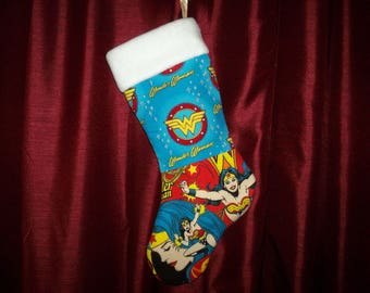 Ready to ship! Classic Wonder Woman Inspired Christmas Stocking
