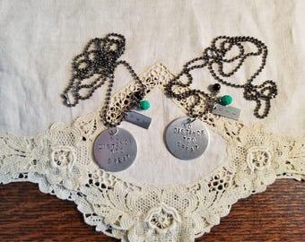 Best Friends Hand Stamped Necklace Set, BFF, Long Distance Friends, No Distance Too Great, Best Friends Necklaces, MarjorieMae