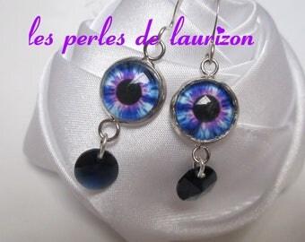 Earrings Blue Crystal eye