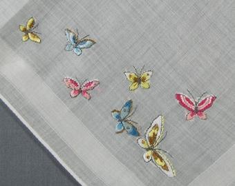 Butterflies Embroidered in Pink & Blue on Cotton Vintage Hankie Handkerchief