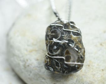 Custom Turritella Agate Wire Wrapped Stone Pendant and Necklace - Choose Sterling Silver Chain or Leather Cord - Quantity of 1