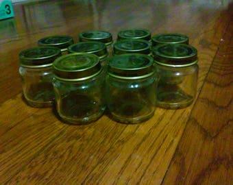 10 Glass Baby Food Jars, 2.5 oz- empty, clean, no glue / craft jars