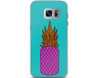 Retro Pineapple Samsung Case, original design, orange, pink, blue, teal, gift idea, present, phone case