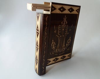 Wizard puzzle book box beautiful brown wooden magic misterious with secret compartment inside surprise handmade wooden trinket box