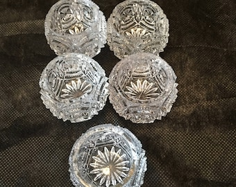 Salt Cellars ~ Cut Clear Glass ~ Set of Five ~ Ring Dish ~ Seasoning Dish ~ Individual Salt Dish ~ Vintage