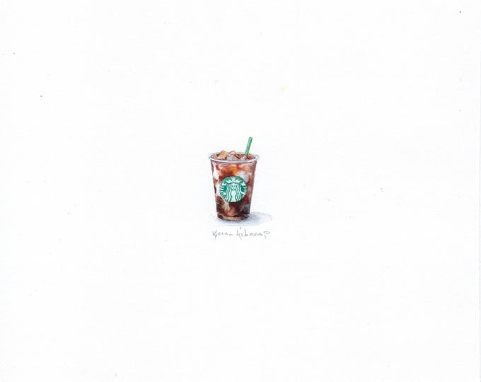 Print of Miniature painting of a Starbucks Ice Coffee, tiny painting Starbucks art 5 x 5