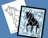 WILD HORSE Silhouette TEMPLATE Only:  Instant Download
