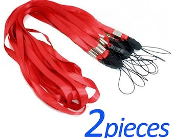 Neck Lanyard Camera Strap Phone Mp3 Id Cell Holder Card Usb Mobile Keys Red x 2