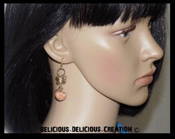 These earrings! BUTTERFLY BUBBLES! metal and glass topped with beads T 4.5 cm long belicious delicious creation