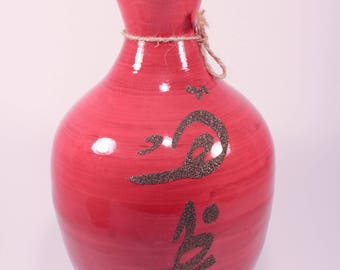 RED BAMBOO VASE