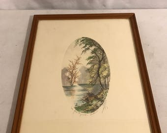 Table painting water strong original signed fall + frame perfect state