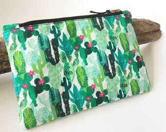 Cosmetic bag pouch bag greenery Cactus of Cactus 14 x 20 cm