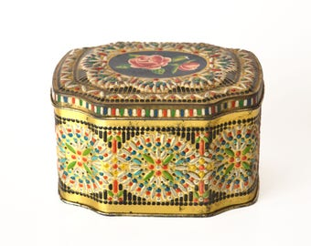 Vintage Tea Biscuit Tin Mosaic Look Gold with Roses