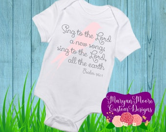 Sing to the Lord Psalm with Bird Onesie Bodysuit