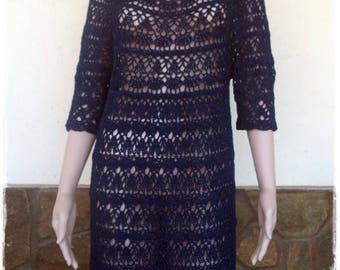 Ladies blue crochet dress / custom