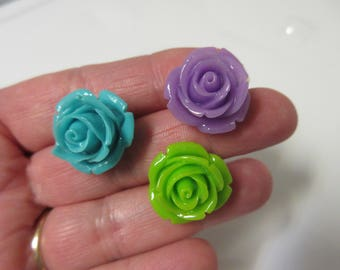 FREE SHIPPING! Purple, Blue, or Green Rose Stud Earrings-Spring Earrings-Summer Earrings