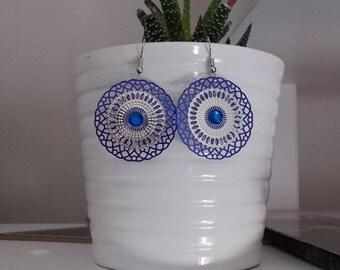 """Blue circle"" earrings"