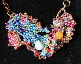 Freeform Peyote Stitch Necklace With Ties