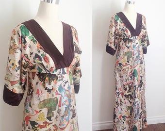 Vintage 1970s Kimono Dress with Novelty Geisha Print | 70s Kimono Style Dress Size Small by Simon Ellis