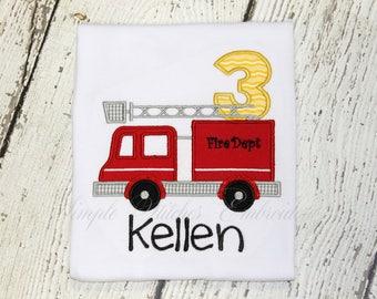 Fire Truck Birthday  Shirt/Romper