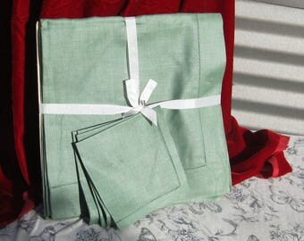 Irish Linen Table Cloth with Matching Napkins, Vintage Table Linens, Luncheon set
