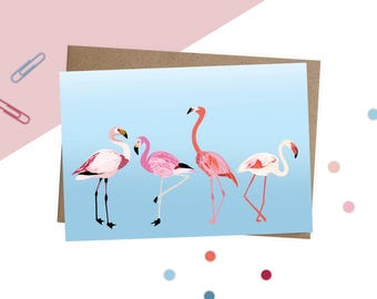 Flamingo card, Flamingo art, flamingo greetings card, cute & quirky card, colourful card, any occasion card, flamingo drawing, card for her