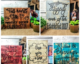 personalized full heart pallet board signs, wedding art, personalized home decor, established year art, puppy sign, custom wedding art