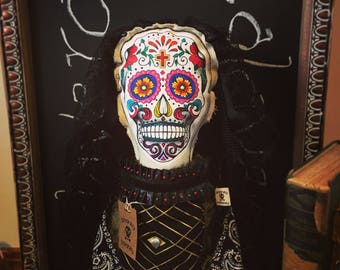 Calavera, ooak doll, Hand-painted doll, sugar skull, painted podge, Art Dolls, OOAK, Mexican doll, Collectible, day of the dead