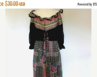 summer sale Vintage dress 1970's black Cotton Floral Paisley print Maxi Dress Small