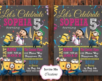 Minions Invitation, Minions Invite, Minions Birthday Card, Minions Birthday Invitation, Minions Theme, Despicable Me, Printable Invitation